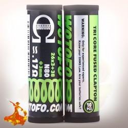 Coil pré monté Tri Core Fused Clapton Coils 26*3+38G 0.17ohm (10pcs) Wotofo