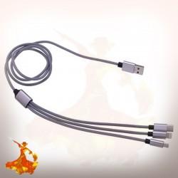 Câble Trio USB Nylon Tréssé 1m 2A Tekmee